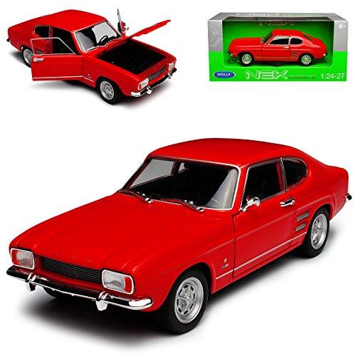 Welly Ford Capri I Coupe Rot 1. Generation 1968-1973 1/24 Modell Auto mit individiuellem Wunschkennzeichen