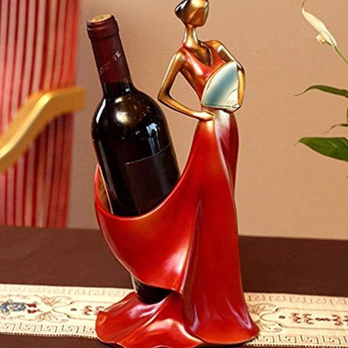 Escultura de Escritorio, Modelo de Belleza roja Modelo de Vino Rack Whisky Holder Shelf Botella de Botella Rack Práctico Escultura Soporte Decoración para el hogar para Bar Resturant House