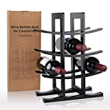 gimars portabottiglie vino in legno naturale scaffale cantinetta da tavolo supporto per bottiglie vino champagne spumante, nero, 12 bottiglie
