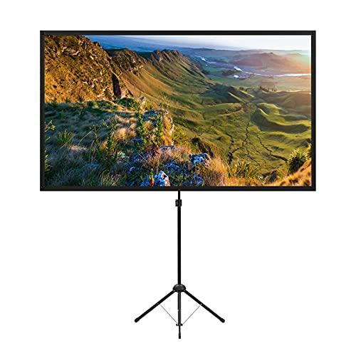 Schermo per proiettore con supporto, 80 pollici 16:9 schermo per proiettore all'aperto, schermo per proiettore portatile, leggero, facile da installare, idea per il cinema in casa, feste in giardino.