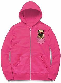 Fox Republic パグ サングラス ポケット 犬 ピンク キッズ パーカー シッパー スウェット トレーナー 110cm