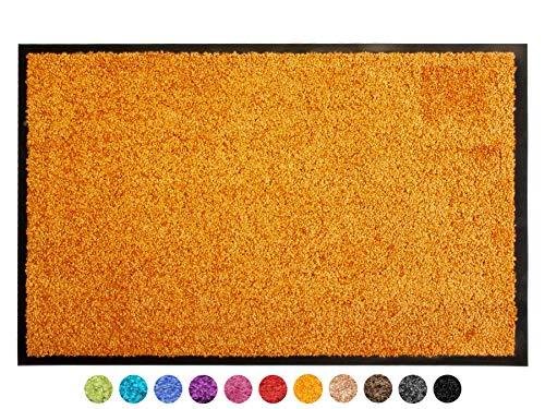 Primaflor - Ideen in Textil Schmutzfangmatte CLEAN – Orange 60x90 cm, Waschbare, rutschfeste, Pflegeleichte Fußmatte, Eingangsmatte, Küchenläufer Sauberlauf-Matte, Türvorleger für Innen & Außen