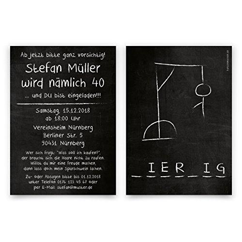30 x Einladungskarten runder Geburtstag 40 Jahre Geburtstagseinladungen - Galgenmännchen