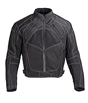 Men Motorcycle Textile Jacket with CE Protection Black MBJ060