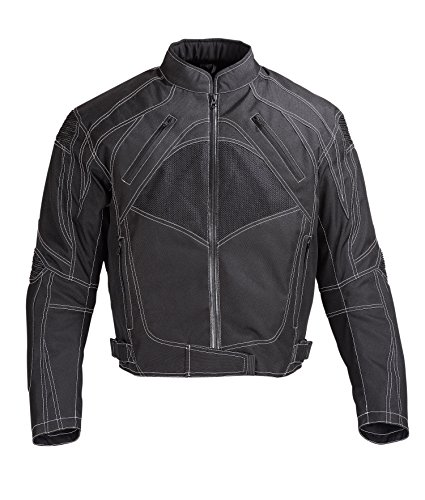 Men Motorcycle Textile Jacket WaterProof with CE Protection Black (XL)