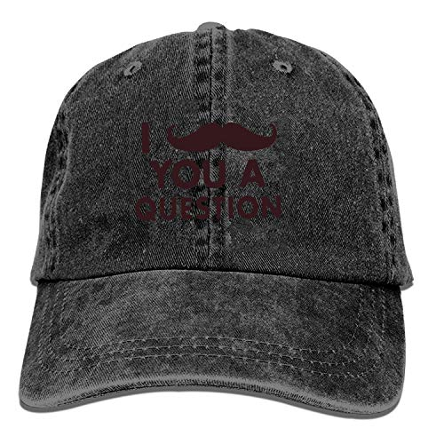 Black Baseball Cap-I Mustache You A Question Trucker Hat Washed Cotton Vintage...