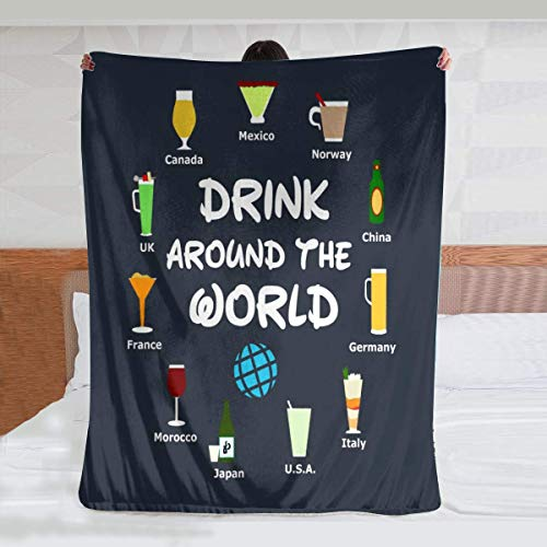 ODENO Epcot Drink Around The World, Lightweight Throw Blanket Home Decorative Blanket Personalized Gift for Couch Sofa Bed Indoor Outdoor 40 x 50 Inches