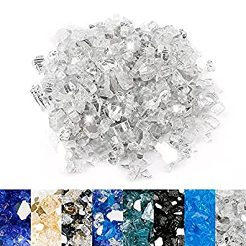 Utheer Fire Glass for Propane Fire Pit 1/2 inch 10 Pounds Fire Glass Clear High Luster Tempered Fire Glass Rocks for Indoor Outdoor Firepit Glass