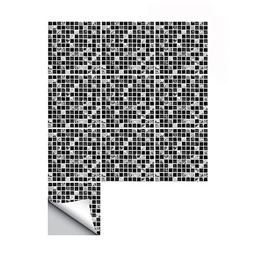 azulejos adhesivos cocina,10 piezas de pegatinas de azulejos de mosaico negro, pegatinas de pared decorativas para el piso de la cocina y el baño -10cm