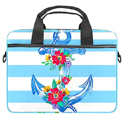 Laptop Bag Anchor Flowers Notebook Sleeve with Handle 13.4-14.5 inches Carrying Shoulder Bag Briefcase
