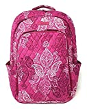 Vera Bradley Laptop Backpack (Updated Version) with Solid Color Interiors (Stamped Paisley with Pink Interior)