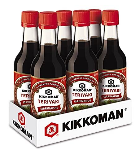 KIKKOMAN Teriyaki Sauce Marinade - mit geröstetem Knoblauch - 250ml / 0,25 Liter – Glasflasche – Teriyaki-Sauce