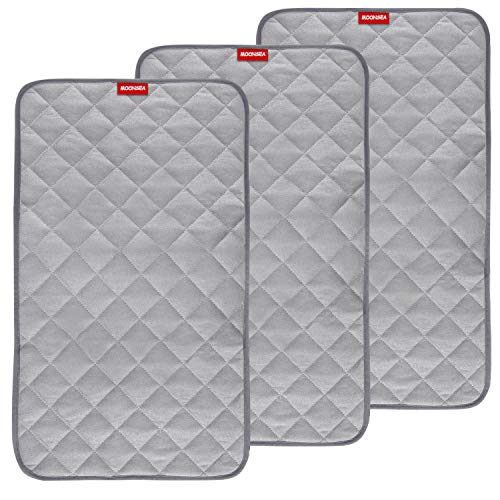 "Waterproof Changing Pad Liners Bamboo Terry Quilted with Non-Slip Back, 3 Pack Extra Thick Large Size 14""x 27""Changing Pad Liners Grey Waterproof Washable, Reusable Changing Mats Sheet Protector"