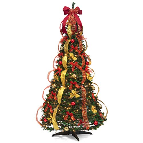 Christmas Tree Fully Decorated Pre-lit 6 Ft Pull Up Pop Up Out of Box Ready Minimal Assembly Needed Holiday Decorations w/ 350 Warm Lights with Stand