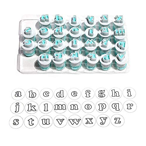 Ambility 26pcs/Set Plastic Alphabet Cookies Cutter Upper Lowercase Letters Fondant Cutters Cake Decorating Tools