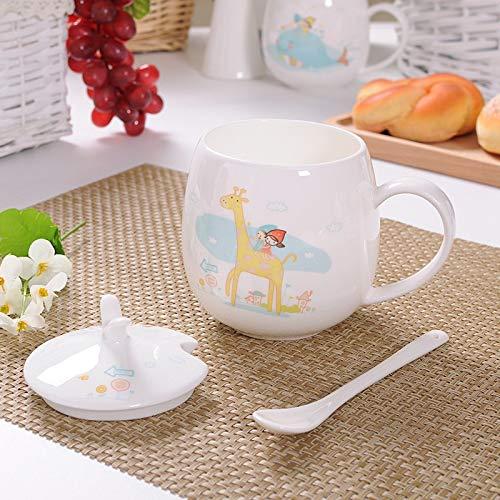 HRDZ Chica Linda de Dibujos Animados Bebiendo Taza de cermica de Vidrio con Tapa Cuchara nios Taza de Porcelana de Hueso Taza de caf con Leche