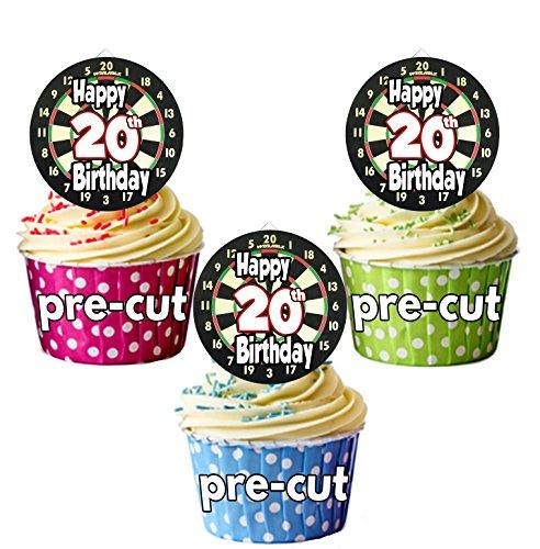 vorgeschnittenen Dartscheibe Darts Motto–20. Geburtstag–Essbare Cupcake Topper/Kuchen Dekorationen (12Stück)