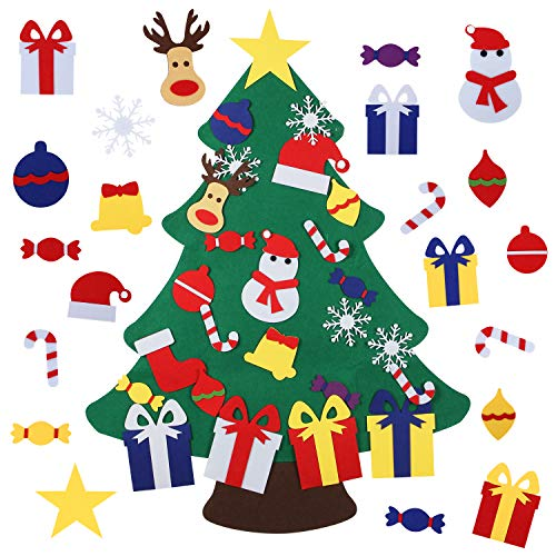 Felt Christmas Tree for Kids with 26pcs Detachable Ornaments,Wall Hanging Xmas Gifts Christmas Decorations