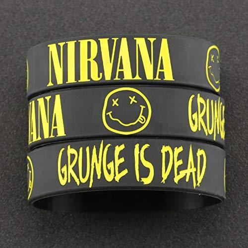 AQUALITYS Pulsera Nirvana Kurt Donald Cobain Rock Band Brazalete de Hip Hop Pulsera de Silicona Grabado Sonrisa Cara Joyería Grunge Hombres al por Mayor