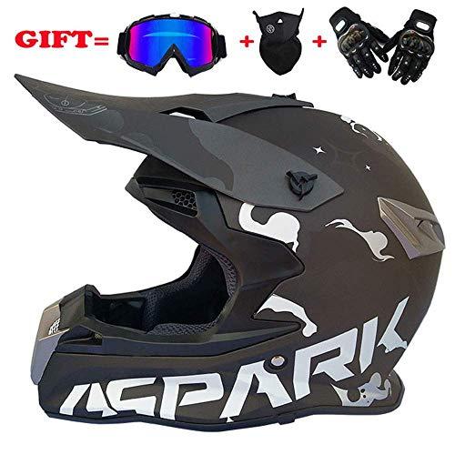Erwachsener Motocross-Helm Professioneller Jugend-Motorradhelm ATV-Rollerhelm D.O.T Zertifiziert mit Brille-Handschuh-Maske (S, M, L, XL, XXL) / (54-63CM),XXL(62~63CM)