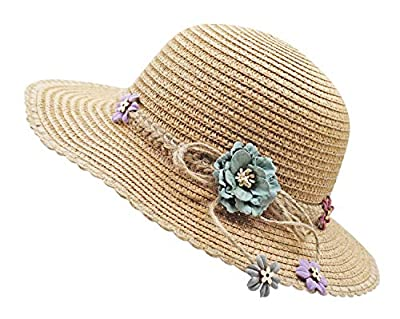 Bienvenu Kid Girl Straw Wide Brim Hat Summer Beach Hat Sun Protection,Knit Belt Style_Coffee