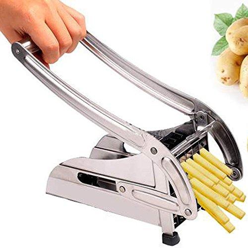 RubilityPiccolo in acciaio inox delle famiglie patate fritte Patatine Cutter frutta e verdura Slicing Machine Argento