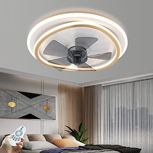 Ventilador De Techo LED Regulable Con Lámpara Silencioso 72W Con Control Remoto Ventilador De 3 Velocidades De Viento Moderno Luz Del Ventilador Del Dormitorio Mesa De Comedor Iluminación (Round)