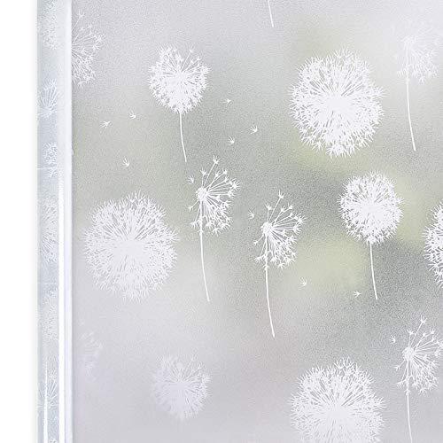 Homein Fensterfolie Pusteblume 44.5x200 cm, Milchglasfolie für Fenster Klebefolie Bad Statisch Haftende Sichtschutzfolie Blickdicht Duschkabine Selbstklebende Folie Sichtfolie UV Schutz & Sichtschutz