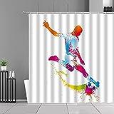 XCBN Cool Football Basketball Sports Cortinas de Ducha Color Diseño de Acuarela Cortina de baño Impermeable Habitación Decoración de baño A5 200x200cm