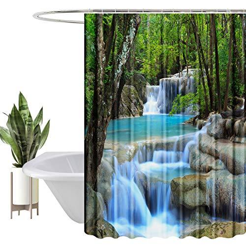 HEYOMART Duschvorhang, Wasserabweisend, Waschbar Digitaldruck Stoff Polyester Badewanne Vorhang, für Duschkabine, Badewannen, Badezimmer-Vorhänge mit 12 Duschvorhängeringen (180x180cm, Landschaft)