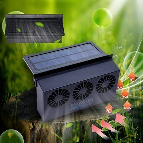 Newest USB Solar Powered Car Ventilator, Solar Powered Car Exhaust Fan, Car Radiator,Eliminate The Peculiar Smell Inside The Car and Can Be Used for General Types of Cars
