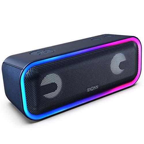 DOSS Enceinte Bluetooth Portable Lumineuse, 24W Enceintes sans Fil avec LED Lumière, Portée Bluetooth 20m, Waterproof, Basses Puissantes, Enceinte USB 15 Heures Playtime, Bleu