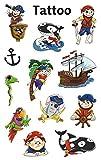 AVERY Zweckform 56683 Tattoo Kinder 12 Stück (Temporäre Tattoos Piraten, Kinder Tattoo wasserfest, Klebetattoos, Kindergeburtstag, Mitgebsel, Partyspiele Preise, Kinder zum Spielen, Tattoo Jungen) -