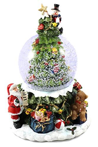 Unbekannt Schneekugel Ø 85mm mit Spieluhr & Licht mit Tannenbaum H: 18,5cm (6900070)