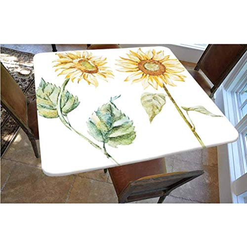 Watercolor Polyester Fitted Tablecloth,Alluring Sunflowers Summer Inspired Design Agriculture Decorative Square Elastic Edge Fitted Table Cover,Fits Square Tables 36x36 Earth Yellow Pale Yellow Fern