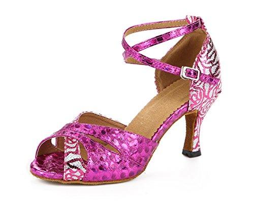 Honeystore Neuheiten Frauen's Pailletten Heels Absatzschuhe Moderne Latein-Schuhe mit Knöchelriemen Tanzschuhe LD0125 Fuchsie 36 CN