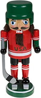 Clever Creations USA Hockey Nutcracker Traditional Collectible Wooden Christmas Nutcracker | Festive Holiday Décor | Wearing Ice Skates and Helmet |with Hockey Stick | 100% Wood | 9