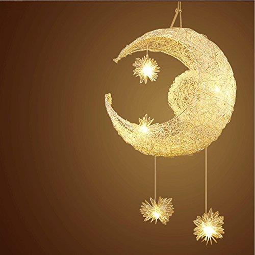 Lampe en aluminium Suspension de lune et étoiles Lustre moderne pour chambre d'enfant (Lumière blanche chaude)