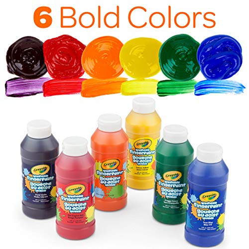 Crayola Washable FingerPaints, 6 Count 8 oz.