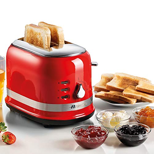 Ariete 0149R Moderna tostadora de 2 rebanadas, función de descongelación, calefacción y cocina, rojo, acero inoxidable