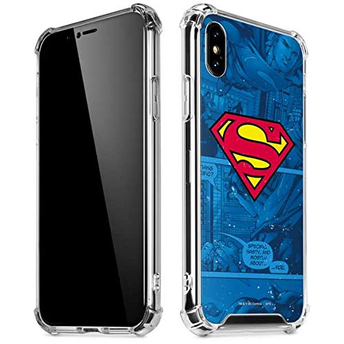Skinit Clear Phone Case Compatible with iPhone X/XS - Officially Licensed Warner Bros Superman Logo Design