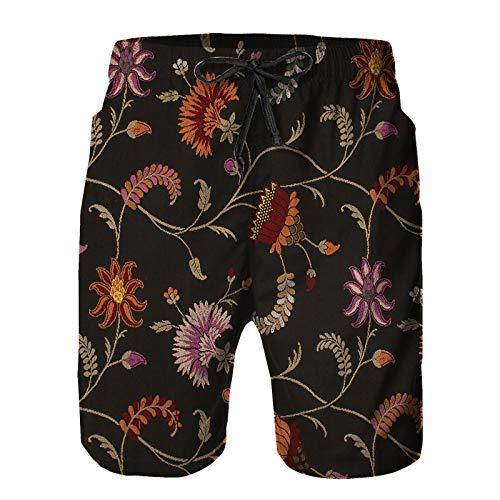 YANAIX Hombres Playa Bañador Shorts,Tela Antigua,Traje de baño con Forro de Malla de Secado rápido S