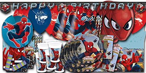Spiderman Kindergeburtstag Partyset XXL - Partydeko & Partygeschirr im Sparset