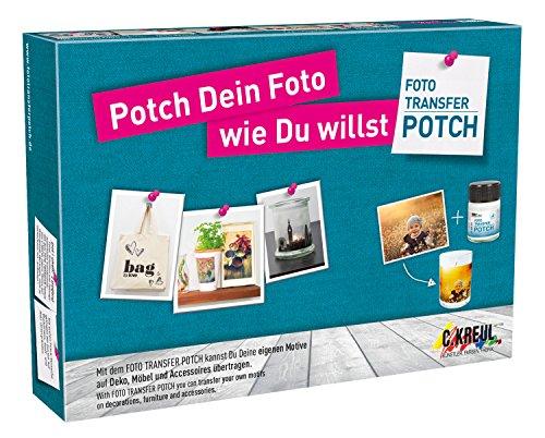 Kreul 49980 - Foto Transfer Potch Set, zum Übertragen von Ausdrucken, Zeitungsausschnitten und Zeitschriftenbildern auf verschiedene Untergründe, mit Potch, Überzugslack, Pinsel und Rakel