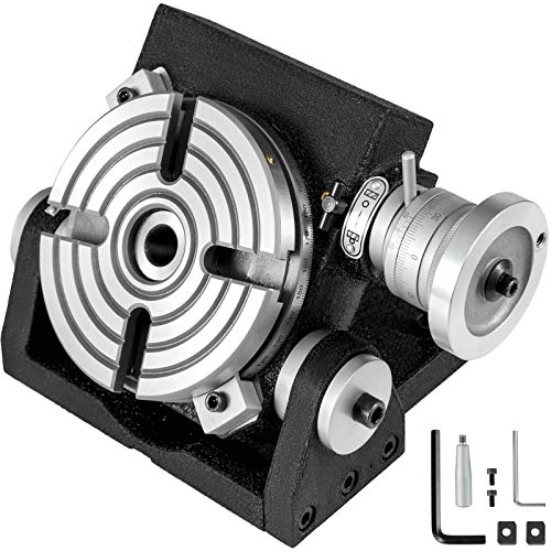 """BestEquip Tilting Rotary Table 6"""" Horizontal Vertical Rotary Table 4-Slot for Milling Machine MT-2 Rotary Table for Milling 360 Degrees Precision Rotary Table"""