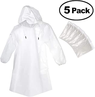 Rain Poncho with Hood Drawstring, Clear Waterproof Raincoat for Adults and Kids, Disposable Emergency Poncho for Theme Disney Park, Camping, Hiking, Sports and Rainy Outdoor - 5 Pack