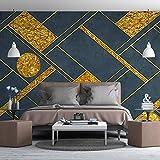 LHGBGBLN Papel tapiz mural de sala de estar 3D moderno geométrico abstracto líneas doradas sofá fondo pegatinas de pared papel tapiz de dormitorio decoración de arte de pared