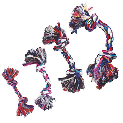 GLORIA chien de jouet de corde - 12 cm - Avec 2 Nœuds - Jouet pour chien - matériaux résistants - santé maintient les gencives - couleurs assorties