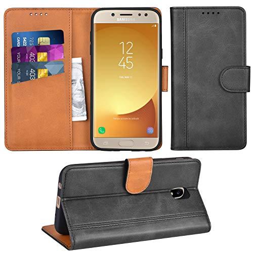 Adicase Galaxy J5 2017 Hülle Leder Wallet Tasche Flip Case Handyhülle Schutzhülle für Samsung Galaxy J5 2017 (Dunkelgrau)