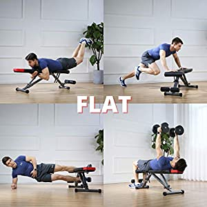Finer Form 5-in-1 Adjustable Weight Bench - Foldable Multi-Purpose Bench for Full Body Workout, Incline Decline Bench for Home Gym